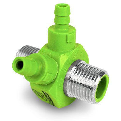 Chemical Injector NPT X NPT Dual Hose Barb - Light Green
