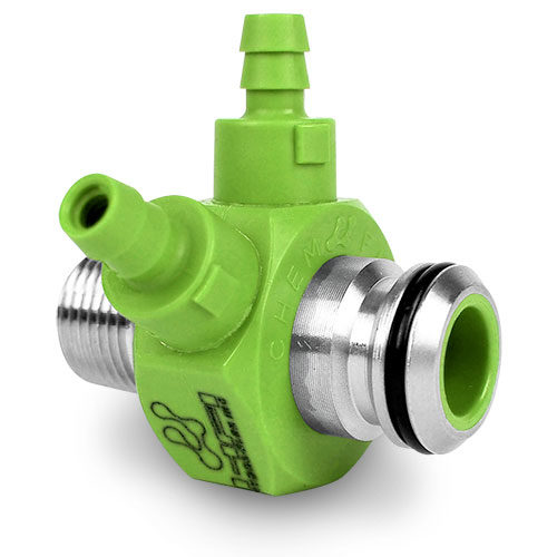 Chemical Injector NPT X PC2 Quick Connect Double Hose Barb - Light Green